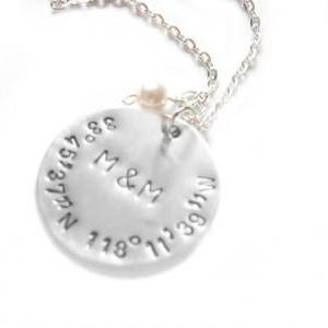Latitude Longitude Necklace Hand St..