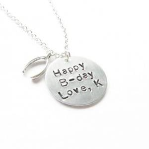 Birthday Hand Stamped Necklace Pers..