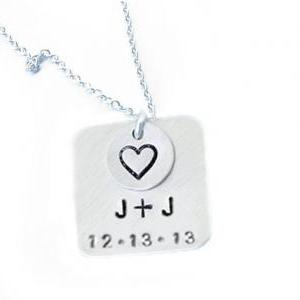 Square Hand Stamped Necklace Person..