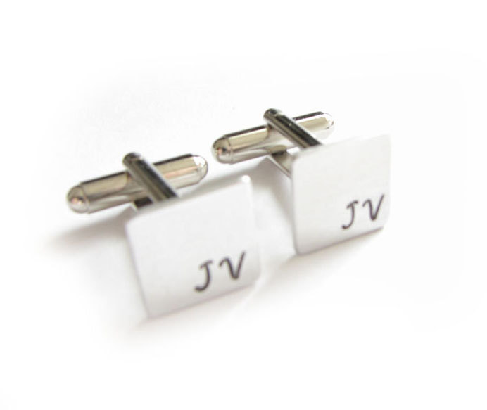 Square Initial Cufflinks Hand Stamped Men Cuff links personalized gift for him guys Father Wedding Birthday