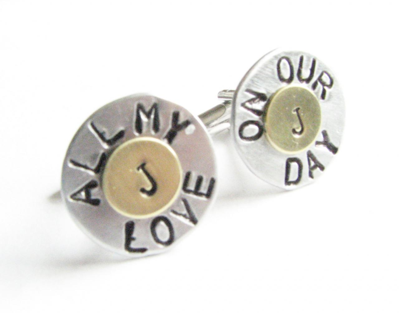 Hand Stamped Wedding Cufflinks Initial personalized Engraved gift for him Men Father Wedding mixed metal cuff links
