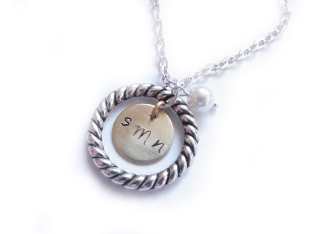 Personalized nitial Necklace Hand Stamped Circle Pendant gift birthday wedding birthday