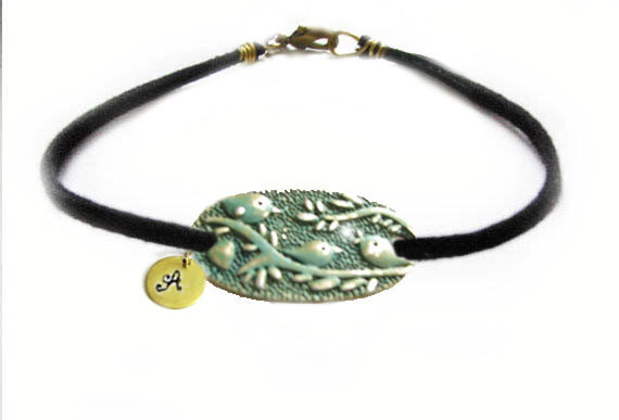Initial Bird Hand Stamped Bracelet Patina Wire Wrapped Black Leather Suede Bronze Engraved Jewelry