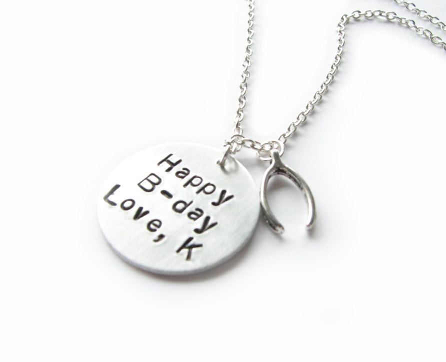 Birthday Hand Stamped Necklace Personalized engraved gift birthday mother sister friend