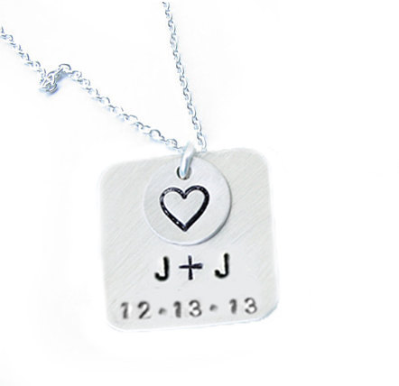 Square Hand Stamped Necklace Personalized pendant gift for wedding Birthday Jewelry