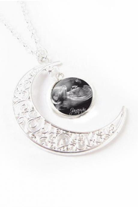 Moon Sonogram Necklace, Customize Personalized Photo Pendant