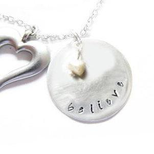 Believe Necklace Metal Hand Stamped pendant chain Heart Mother of pearl