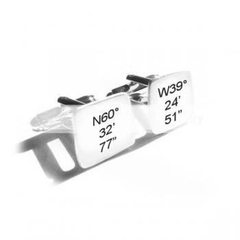 Latitude Longitude Hand Stamped Cufflinks Personalized engraved gift for men father cuff links birthday wedding graduation