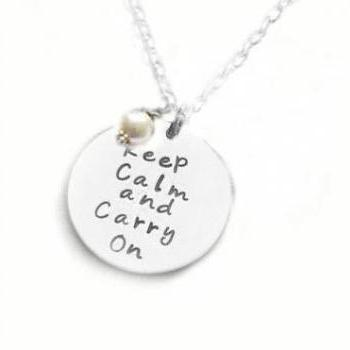 Keep Calm & carry on Personalized Hand Stamped Necklace Engraved Pendant gift wedding birthday